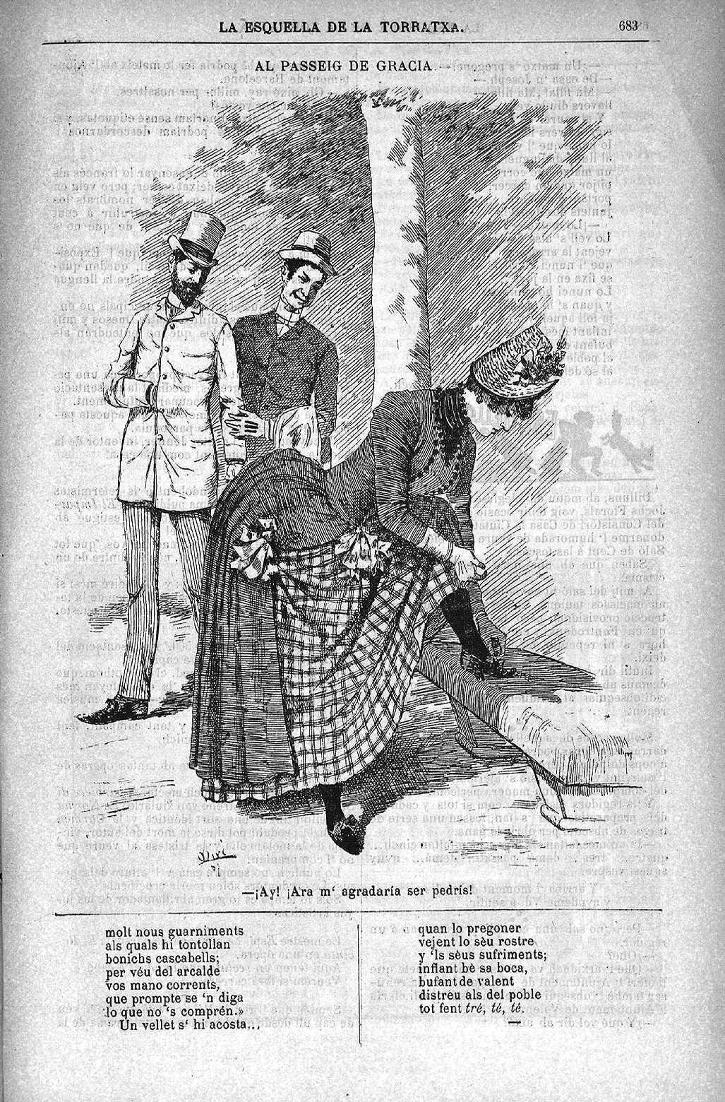Esquella de la Torratxa, L'. Núm. 462, 19 novembre 1887, pàgina 683. Il·lustració de R. Miró.