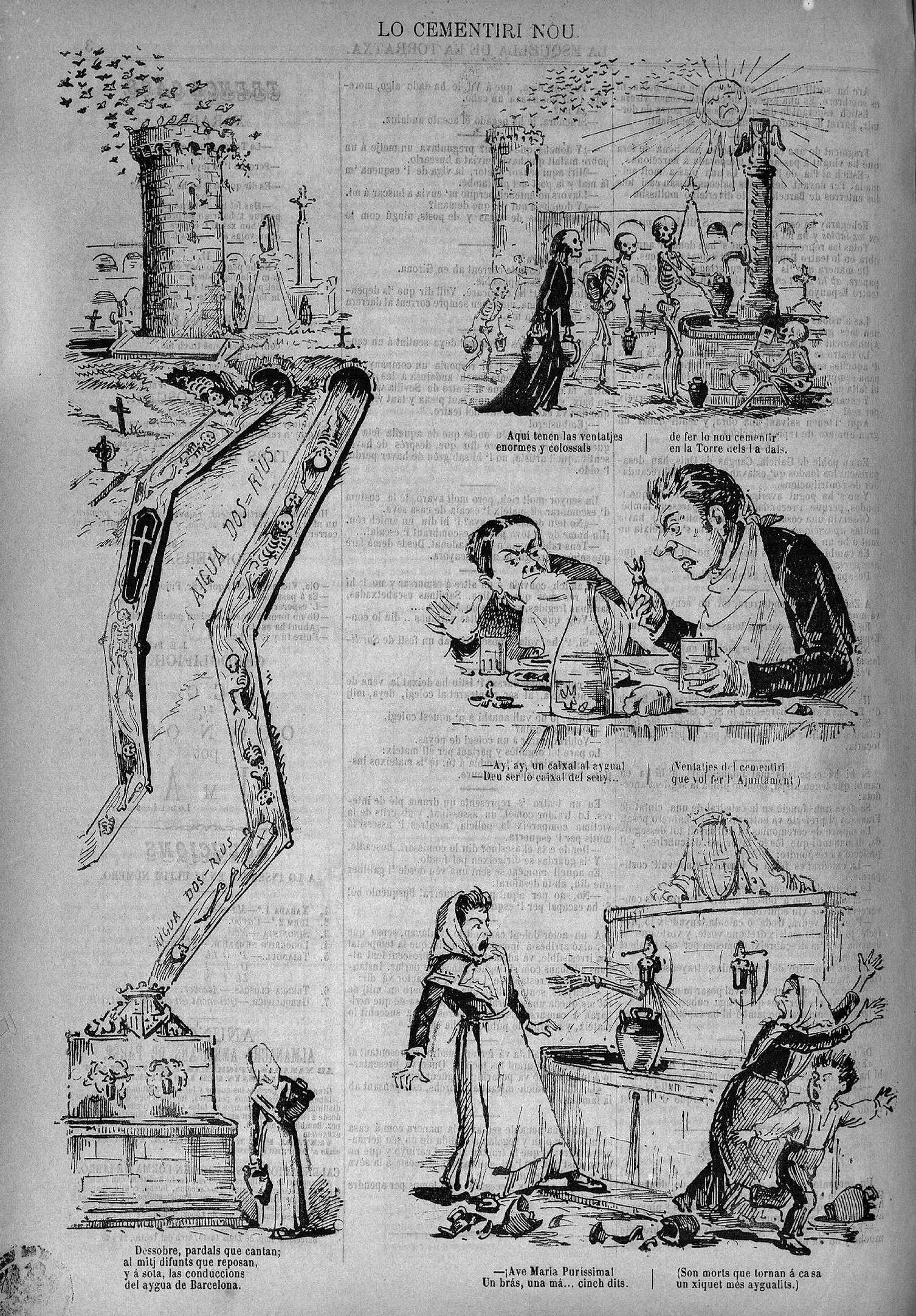 Esquella de la Torratxa, L'. Núm. 99, 11 desembre 1880, pàgina 4. Acudits sobre el pas de les aigües pels terrenys que ocuparà el cementiri nou.