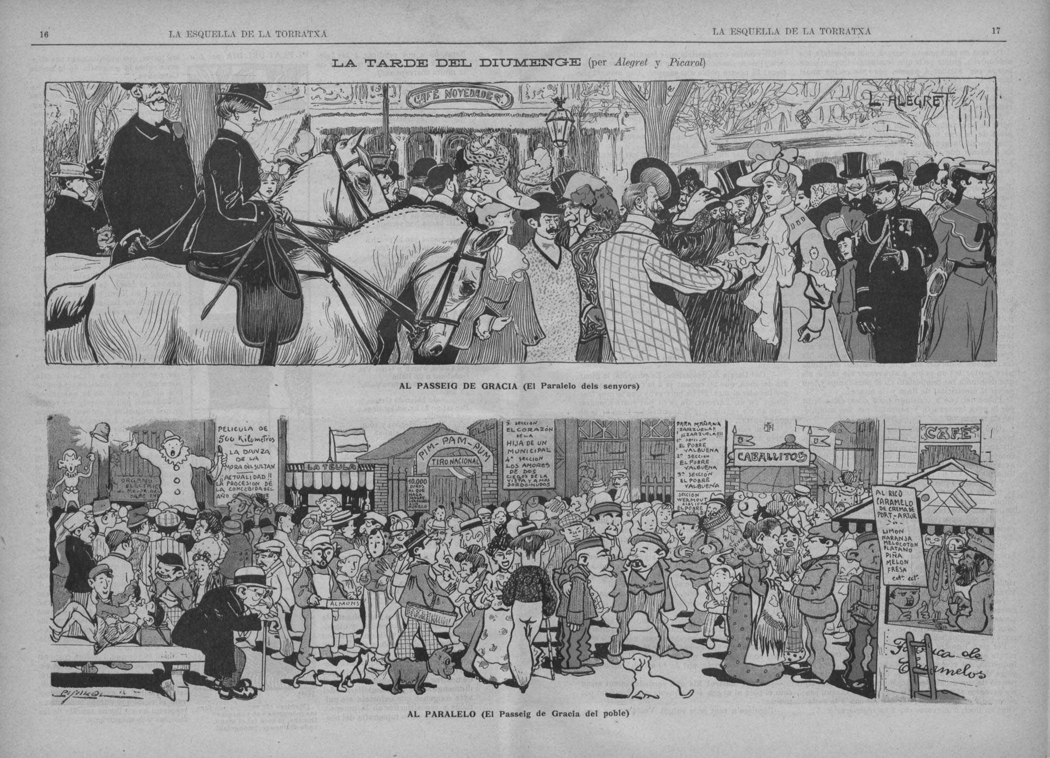 Esquella de la Torratxa, L'. Núm. 1357, 6 gener 1906, pàgina 16. Il·lustracions de L. Alegret i Picarol, pseudònim de Josep Costa i Ferrer.