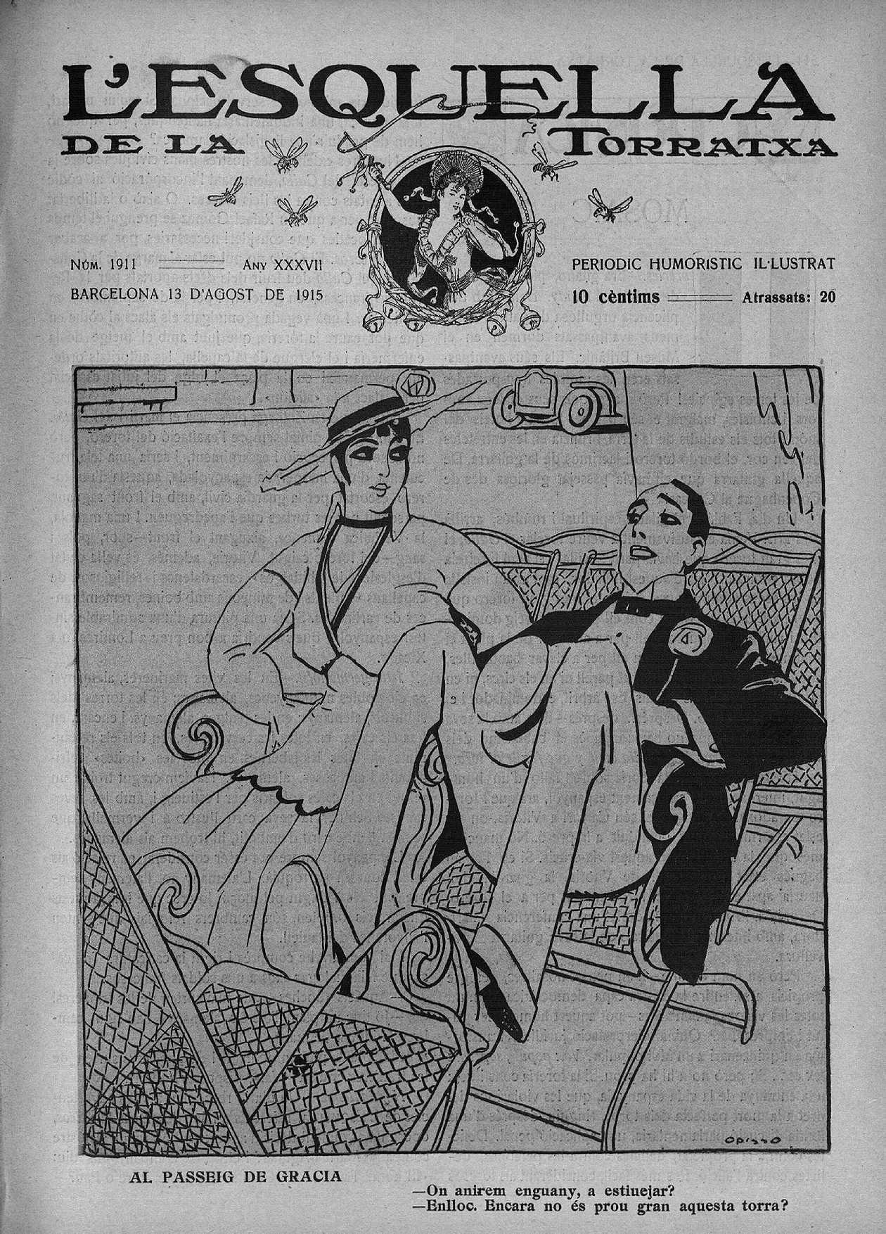 Esquella de la Torratxa, L'. Núm. 1911, 13 agost 1915, pàgina 1. Il·lustració de Ricard Opisso.