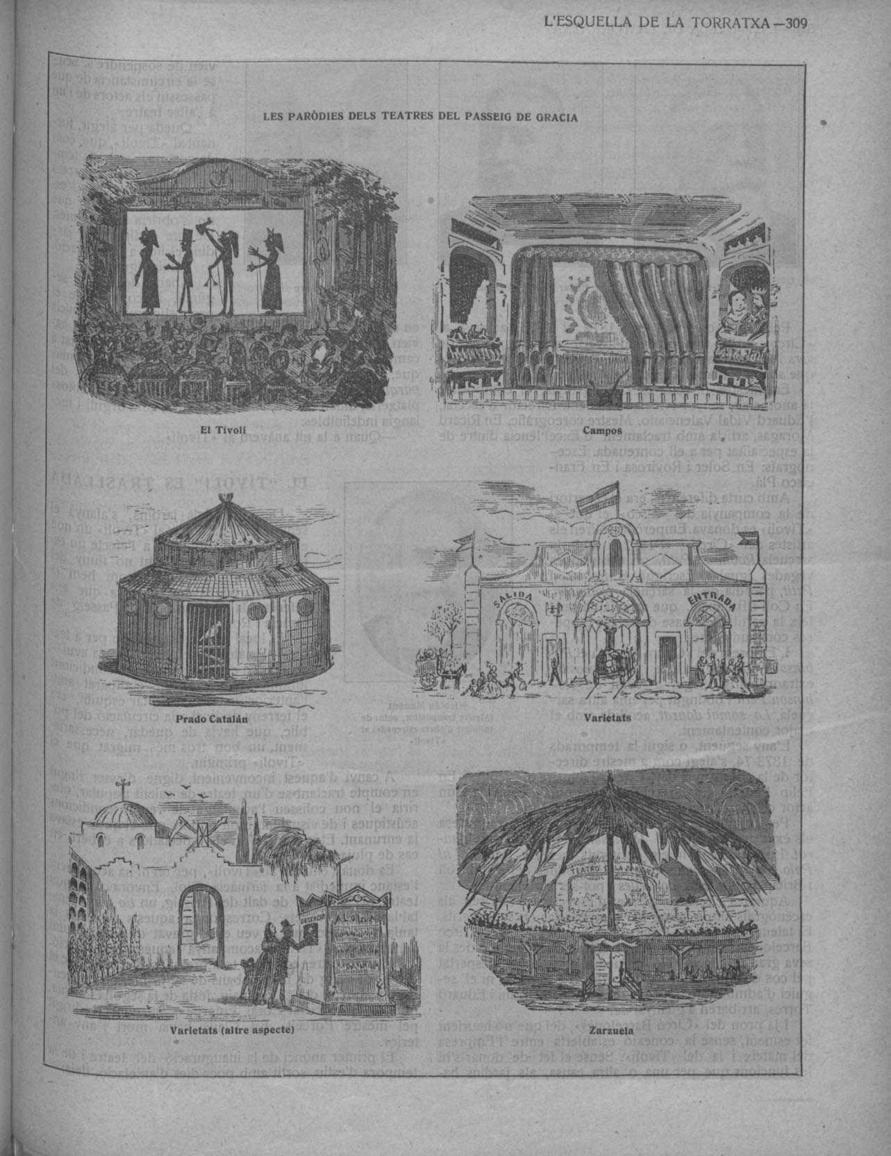 Esquella de la Torratxa, L'. Núm. 2106, 23 maig 1919, pàgina 309. Dibuixos de diversos teatres al passeig de Gràcia.