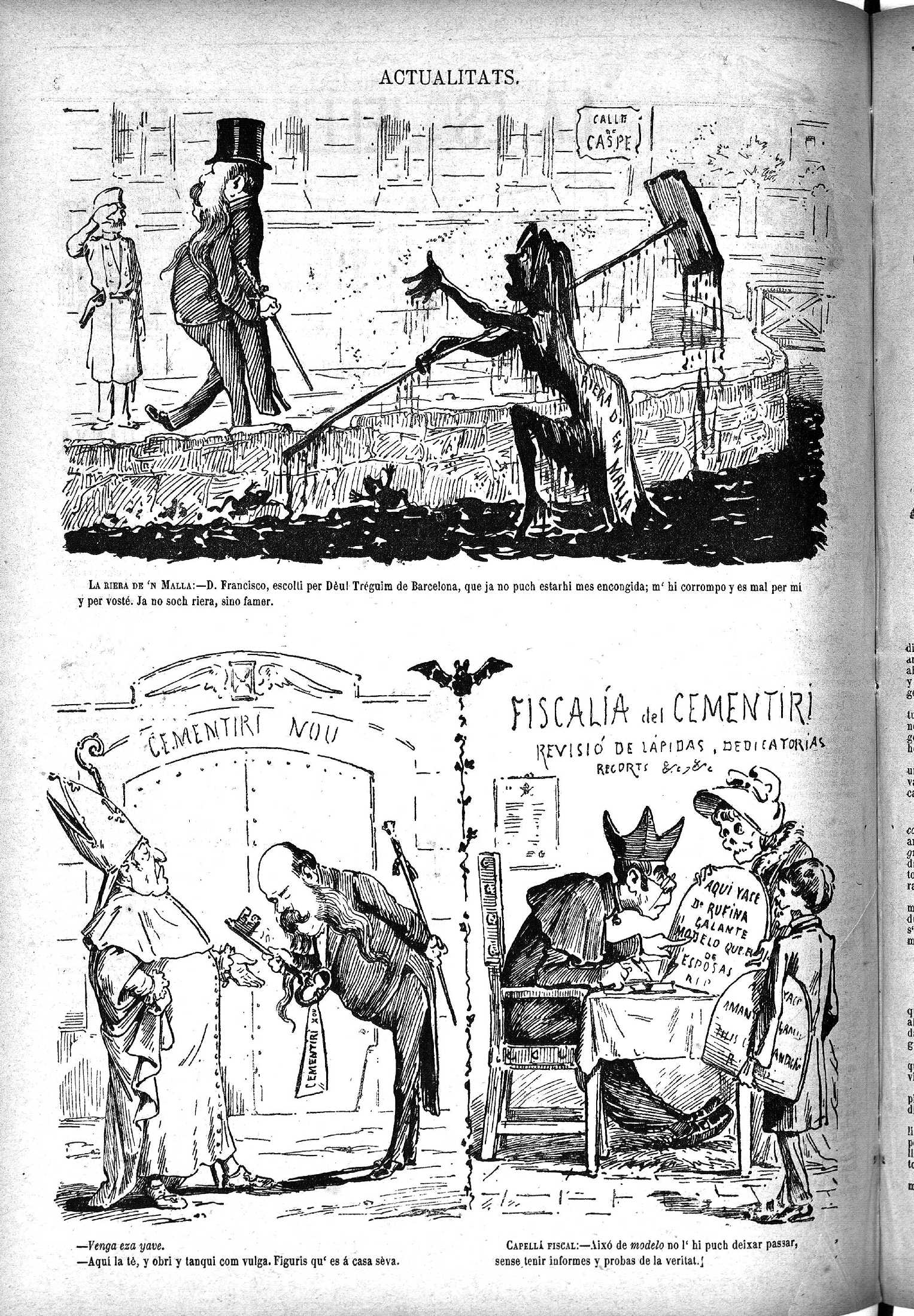 Esquella de la Torratxa, L'. Núm. 214, 24 febrer 1883, pàgina 4. Acudits sobre el paper de les autoritats civils i eclesiàstiques respecte el nou cementiri.