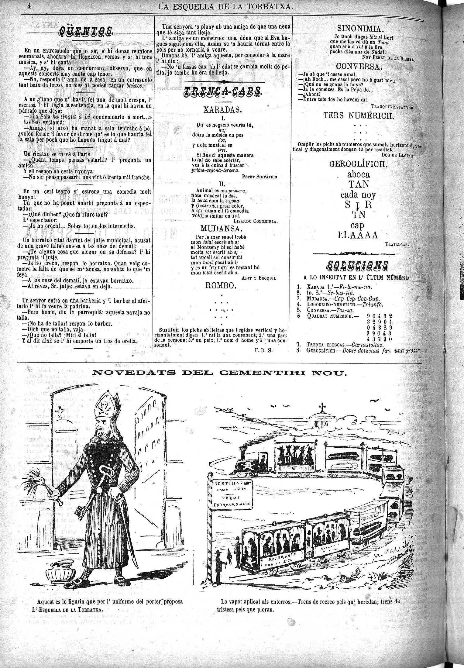 Esquella de la Torratxa, L'. Núm. 215, 3 març 1883, pàgina 4. Proposta d'uniforme pel porter que fa la revista.