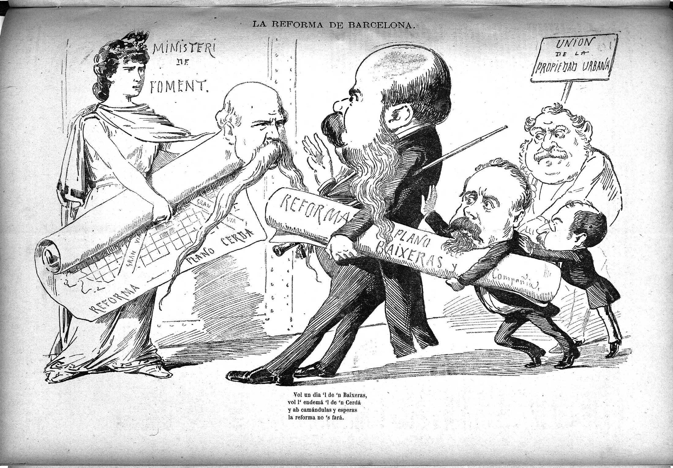 Esquella de la Torratxa, L'. Núm. 236, 28 juliol 1883, pàgina 4. Il·lustració satírica sobre els plans Cerdà i Baixeras de reforma urbanística de la ciutat.