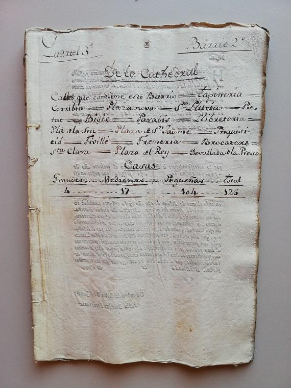Document transcrit que és la Portada del quadern dedicat al Quarter 3- Barri 2. de la Catedral