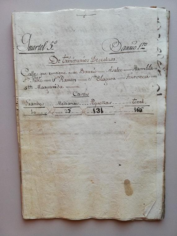 Text manuscrit del quadern dedicat al Quarter 5 - Barri 1, dels Trinitaris Descalços