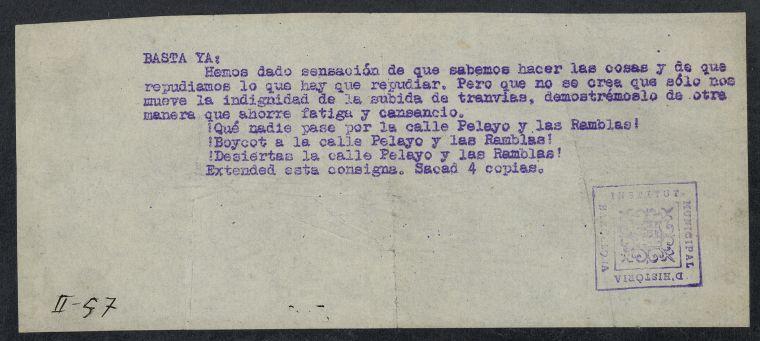 Document manuscrit sobre la vaga de tranvies