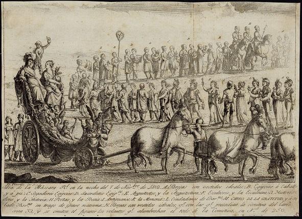 Làmina corresponent a la Màscara Reial de la nit del 7 de novembre de 1802, realitzada en ocasió de la visita de Carles IV a Barcelona.