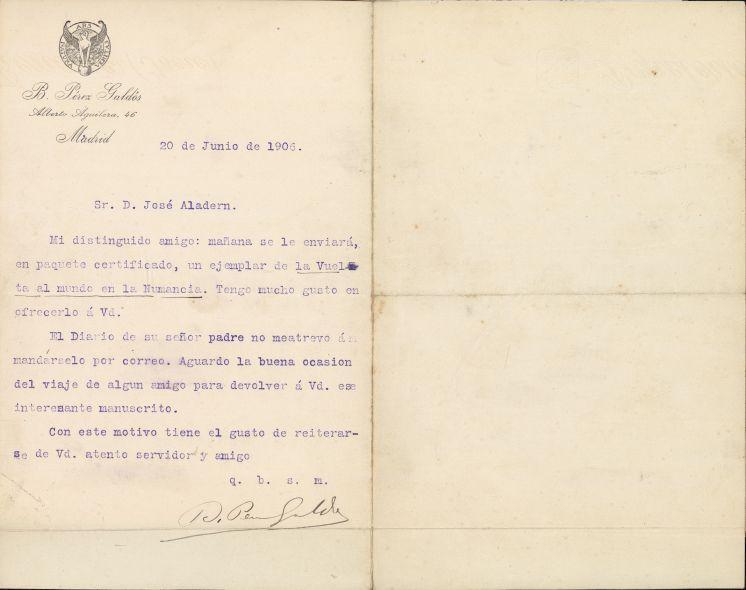 Carta de Galdós a Josep Aladern, 20 de juny de 1906. AHCB Ms. A-350