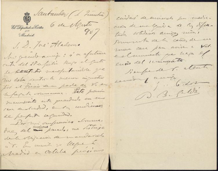 Carta de Galdós a Josep Aladern, 6 d'agost de 1907. AHCB A-350