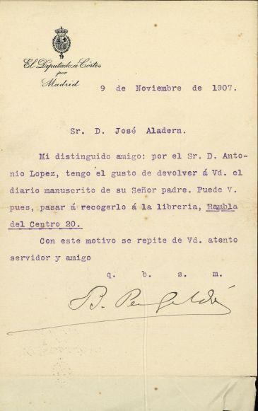 Carta de Galdós a Josep Aladern, 9 de novembre de 1907. AHCB. Ms. A-350