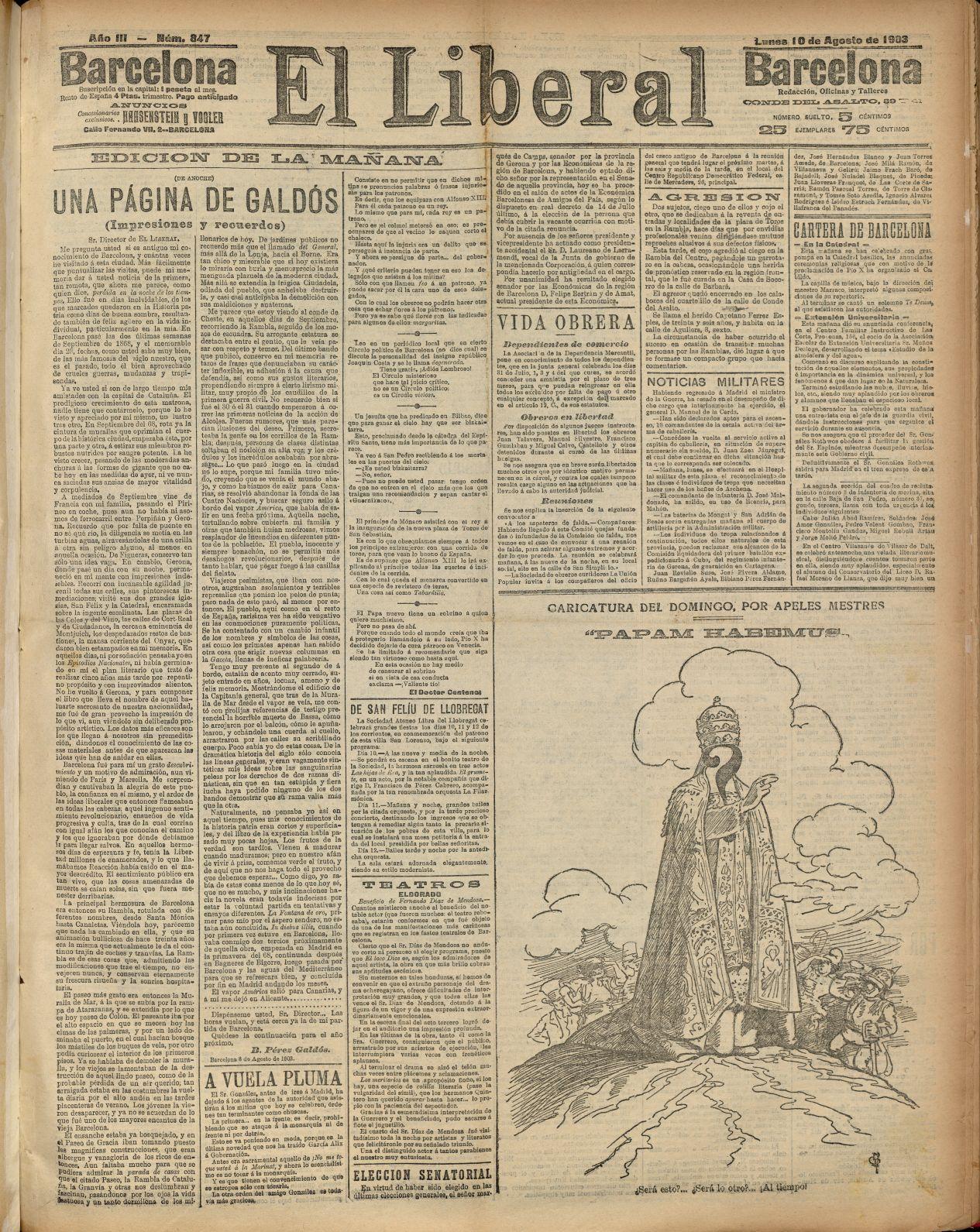El Liberal [edició de matí]. Barcelona: el Liberal. 10-08-1903. AHCB. Hemeroteca. D 1901 GFol
