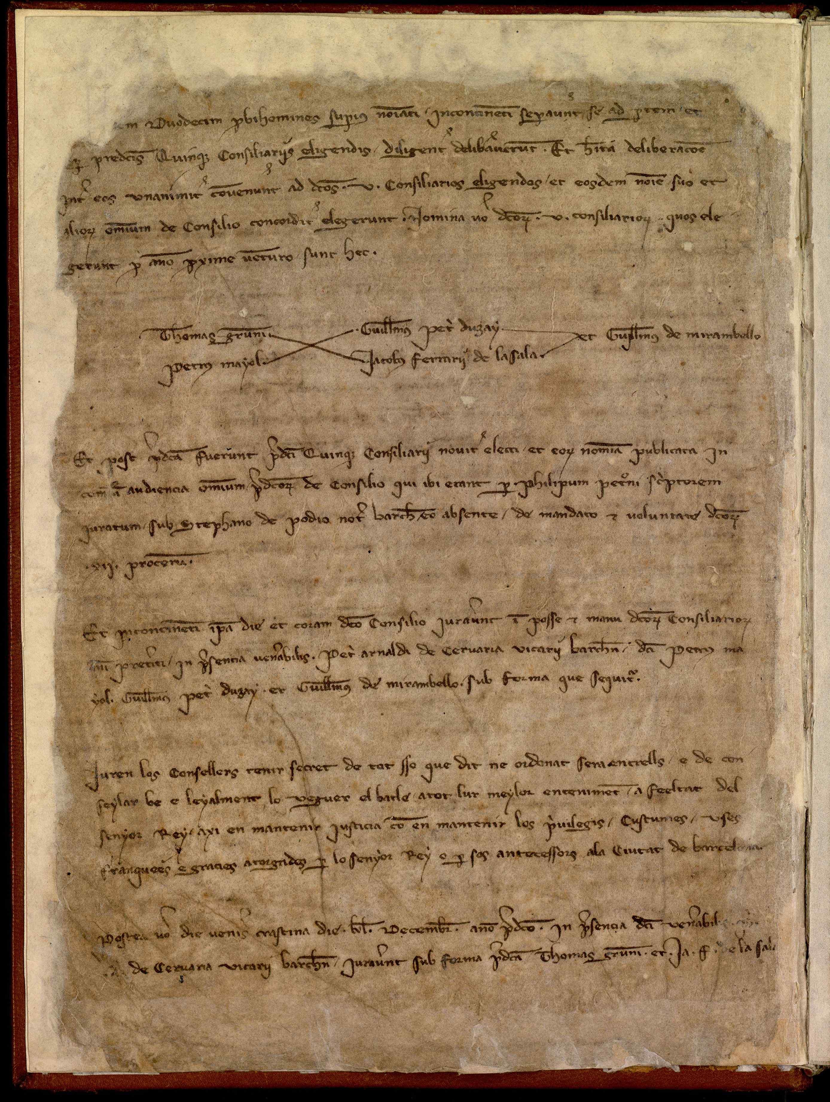 Libro de actas de las reuniones del Consejo de Ciento y del Consejo de Treinta (1310-1313): incluye la elección de cargos municipales y las deliberaciones de los Consejos. También contiene copias de la correspondencia enviada y recibida, así como ordenanzas, documentación contable y declaraciones de ciudadanía.