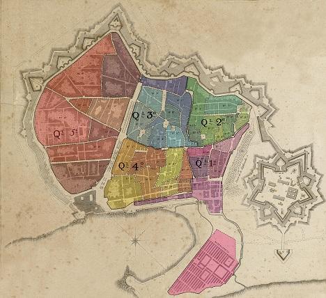 Fragment, modificat per Laura Fortuny, del plànol d'Antoni de Montfort dedicat al General Castaños el 1818 (reg. 07733, AHCB4-202/C02.02), on es poden veure les divisions territorials presents a la Relació d'habitants.