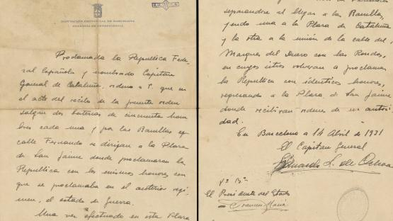 Document autògraf del General López Ochoa en el que, un cop nomenat Capità General de Catalunya, ordena que dues bateries amb un total de cent homes, es dirigeixin a la Plaça de Sant Jaume