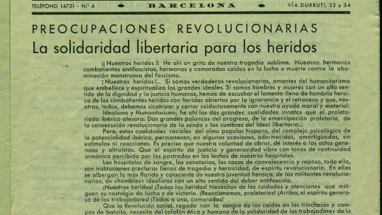 Comité Pro-Heridos CNT-AIT: boletín. Núm. 5 (11 agost 1937) portada