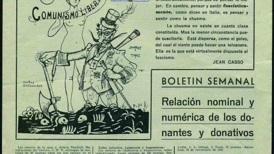 Comité Pro-Victimas del Fascismo. CNT.FAI. AIT : boletín semanal. Núm. 13 (28 novembre 1936) portada