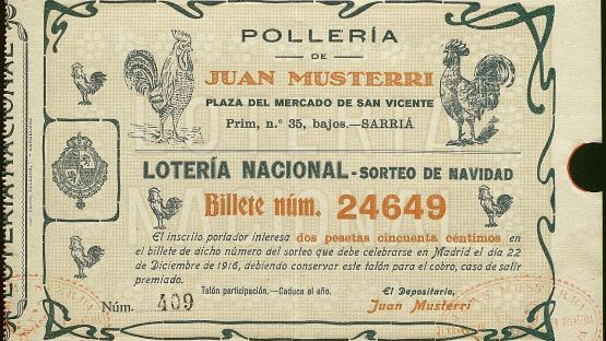 Participación de la lotería del año 1916. Con decoraciones de unos gallos