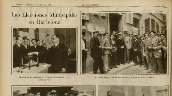 """Fotos il·lustratives en """"Notes gráficas"""" del 14 d'abril de 1931, de la jornada electoral de dos dies abans, solament en la segona i tercera pàgines."""