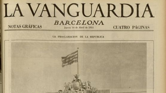 Portada de La Vanguardia del tercer dia de la proclamació de la República, amb data 17 d'abril de 1931, es dedica en la seva totalitat al canvi de govern