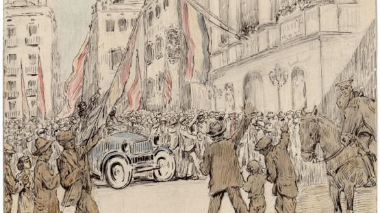 Dibuix realitzat per Pau Febrés Yll que representa la plaça de Sant Jaume el dia 14 d'abril de 1931 a les quatre de la tarda, en el moment de penjar la bandera republicana al balcó.