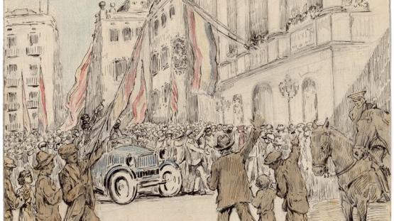 Dibujo realizado por Pau Febrés Yll que representa la plaza de San Jaume el día 14 de abril de 1931 a las cuatro de la tarde, en el momento de colgar la bandera republicana en el balcón.