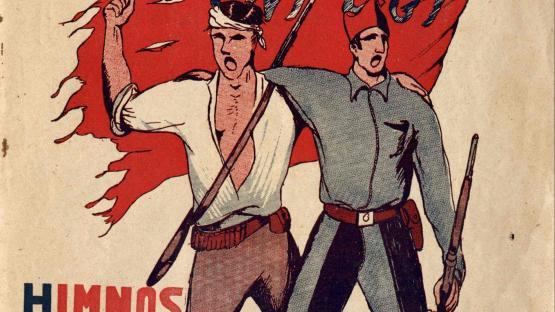 """Cançoner anònim Canciones libertarias. Himnos de la revolución. Impremta A.G. """"El Gato Negro""""  AHCB. Gràfics."""