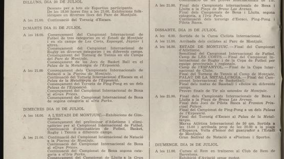 L'Olimpíada Popular s'havia de celebrar entre els dies 19 i 26 juliol de 1936, però va ser frustrada pel cop d'estat militar. AHCB. Arxiu Medieval i Modern. Col•lecció Fulls volanders. Any 1936