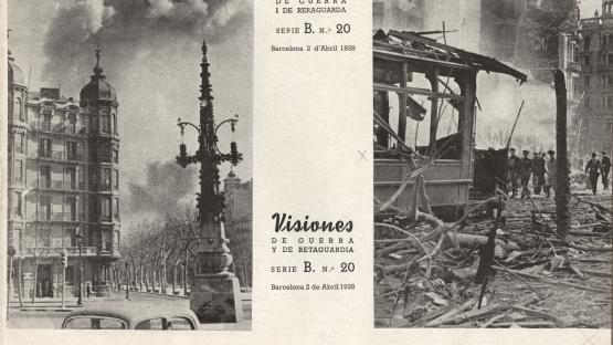 Bombardeig al Cinema Coliseum. La sèrie B de Visions de guerra i rereguarda... , estava destinada a mostrar fotografies d'actualitat, en aquest cas els bombardejos de març de 1938.  AHCB. Hemeroteca. R 1937 8