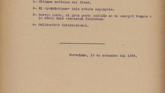 Comunicat de premsa de la Generalitat de Catalunya del 16 de setembre de 1936. La notícia destacada del dia és la mort del poeta García Lorca: el gran poeta andalús no ha escapat tampoc a la fúria dels assassins feixistes.    AHCB. Hemeroteca. R 1936 4