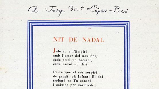 Pàgina amb el poema Nit de Nadal, del 1948, dedicat a Josep Maria López-Picó