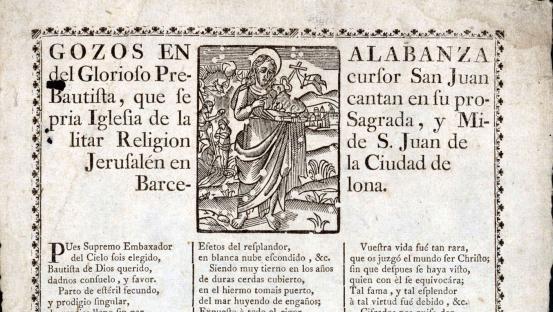 Gozos en alabanza de Sant Joan Bautista, del 1723