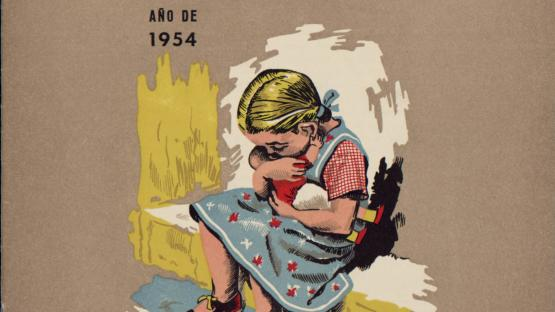 Fulletó Auxilio Social, publicat a Madrid  per F.E.T y de las J.O.N.S. l'any 1954. Dóna  publicitat a les activitats que portà a terme la  institució assistencial més emblemàtica del règim de  Franco.  AHCB. Gràfics. Entitats. F.E.T y las J.O.N.S