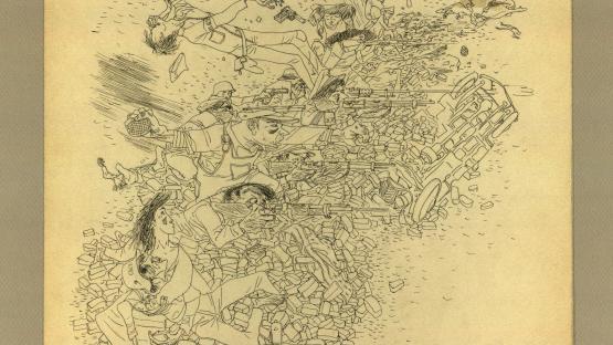 Barricada, dibuix a tinta de Josep Bartolí. La  col•lecció d'aquest autor consta de 116 originals  agrupats en dues sèries: Guerra Civil i Camps de  Concentració.    AHCB. Gràfics. Fons Josep Bartolí. Sèrie Guerra Civil. 24877
