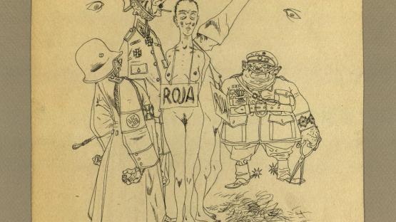 Roja, dibuix a tinta original de Josep Bartolí.   AHCB. Gràfics. Fons Josep Bartolí. Sèrie Guerra Civil. 24905