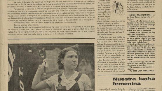 Revista Emancipación, órgano quincenal del Secretariado Femenino del P.O.U.M. Barcelona : ed. Marxista, 1937.   AHCB. Hemeroteca. R 1937 FOL VARIA LV