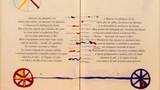 Pàgines 46 i 47 de la publicació Novíssima Oda a Barcelona de José Agustín Goytisolo i il·lustrada per Josep Guinovart