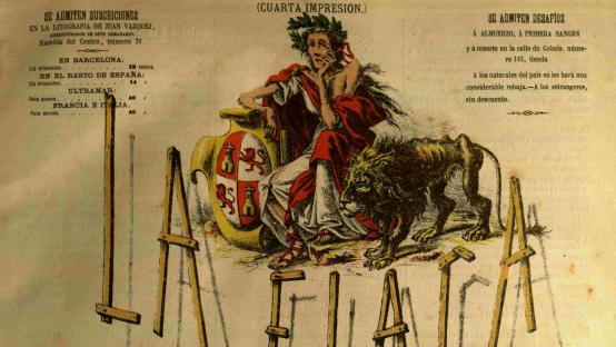 Portada de La Flaca, número 1 del 27 de març de 1869