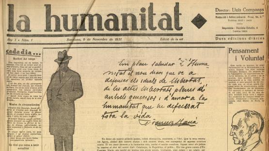 Portada de La Humanitat, número 1 del 9 de novembre de 1931