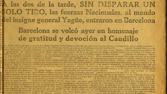 Hoja oficial de Barcelona. Número extraordinario, publicat divendres 27 de gener de 1939, primer dia de l'ocupació de Barcelona per les tropes franquistes.   AHCB. Hemeroteca. R 1926 Fol