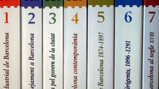 Muestra de siete números publicados de la colección Barcelona Biblioteca Histórica