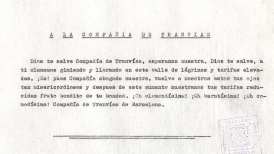 """Full volander, """"Missatge del President del Parlament català al poble de Catalunya i als catalans de l'exili"""". 11 de setembre de 1952.   AHCB.  Arxiu Medieval i Modern. Col•lecció Fulls volanders. Any 1952"""