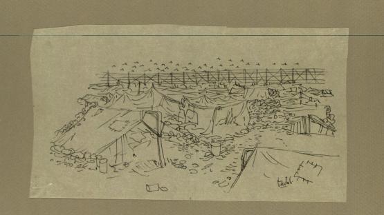 Dibuix a tinta, Vista del primer campo, de Josep Bartolí.  AHCB. Gràfics. Fons Josep Bartolí. Sèrie Camps de concentració. 24921