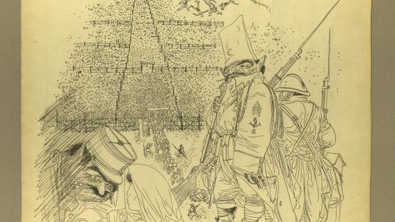 Dibuix a tinta, Llegada, de Josep Bartolí.  AHCB. Gràfics. Fons Josep Bartolí. Sèrie Camps de concentració. 24922