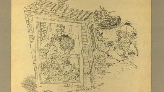 Dibuix a tinta, Viol, de Josep Bartolí.  AHCB. Gràfics. Fons Josep Bartolí. Sèrie Camps de concentració. 24953