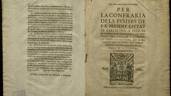 Litigi entre Fusters i Escultors arran de la constitució d'aquests darrers en confraria. CCAM 02.04/2A.1-C5 doc. 25 (1680)