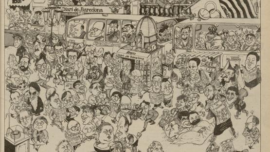 Cap al Tercer segle. Diari de Barcelona, suplement del núm. 1. Dissabte, 14 de març de 1987. Portada il·lustrada per Trallero.