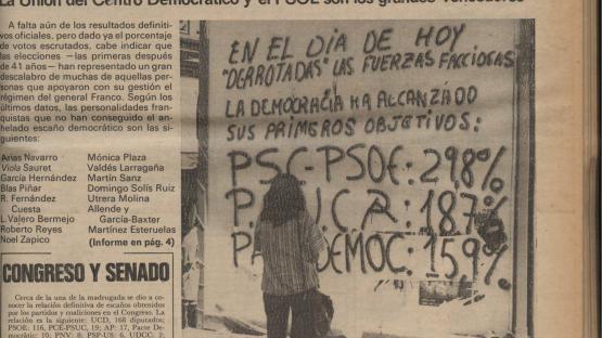 Portada de Mundo Diario de divendres 17 de juny de 1977. Barcelona : Ilustración, 1974-1980. L'editorial fa referència als resultats de les primeres eleccions democràtiques del 15 de juny.    AHCB. Hemeroteca. D 1968 Fol