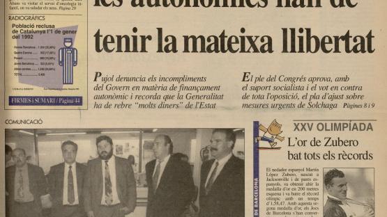 Diari de Barcelona, 29 de juliol de 1992. Portada. Aquest número publica la notícia de la venda del Diari de Barcelona a la societat Emili i Carles Dalmau (ECD, SL).