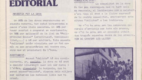 Revista Dones en lluita : butlletí mensual de la Coordinadora Feminista de Barcelona. Barcelona : la Coordinadora, 1978-1983? AHCB. Hemeroteca. R 1977 Fol